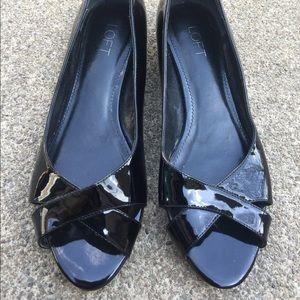 Women's Loft Black Patent Leather Sandals Size 8M